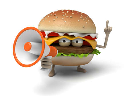 short order: The 3d hamburger and a loudspeaker Stock Photo
