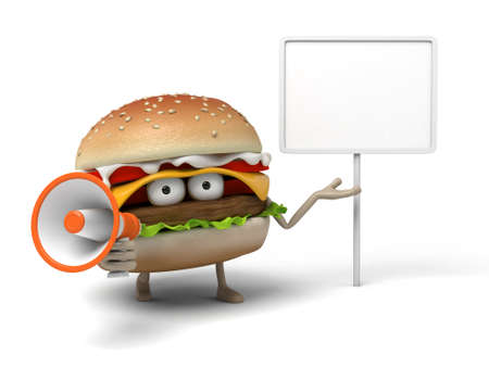 short order: The 3d hamburger is talking with a loudspeaker Stock Photo