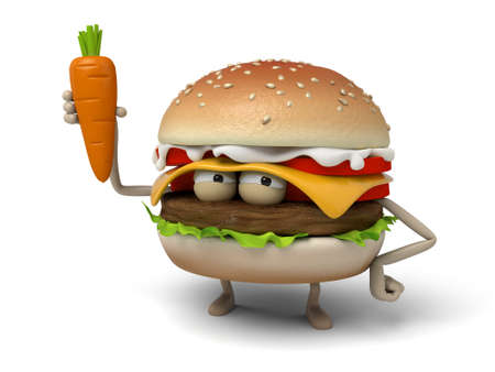 short order: The 3d hamburger and a carrot Stock Photo