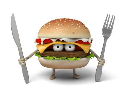 De 3d hamburger en het mes en vork Stockfoto