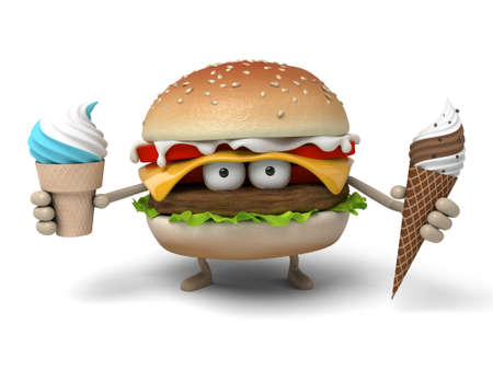 short order: The 3d hamburger and   ice cream Stock Photo
