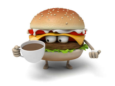 short order: The 3d hamburger and a cup of coffee Stock Photo