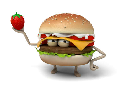 short order: The 3d hamburger and a strawberry Stock Photo