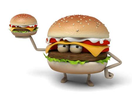 had: The 3d hamburger had a hamburger in his hand Stock Photo
