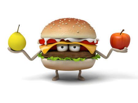 short order: The 3d hamburger was holding an apple and a pear in his hand