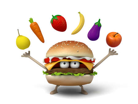 short order: The 3d hamburger and some fruit and vegetables