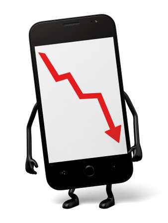 downward: 3d smartphone and a downward trend curve Stock Photo