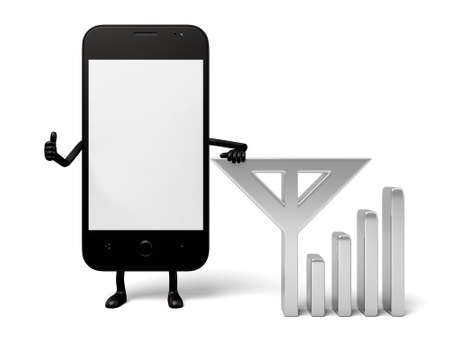 signals: The 3d smartphone and a wifi sign Stock Photo