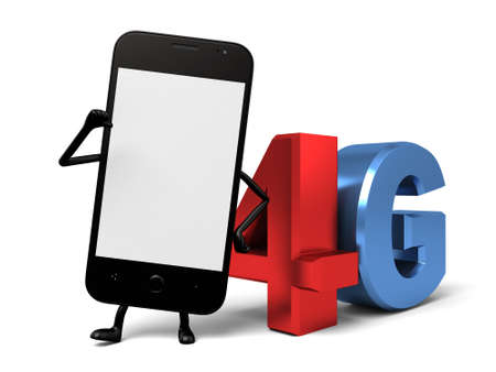 4g: The 3d smartphone and a 4G sign