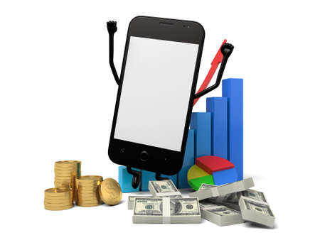 riches: The 3d smartphone and a rising curve Stock Photo