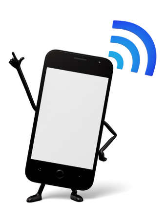 wifi sign: The 3d smartphone and a wifi sign Stock Photo
