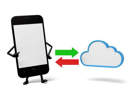 cartoon cloud: The 3d smartphone and a cloud data