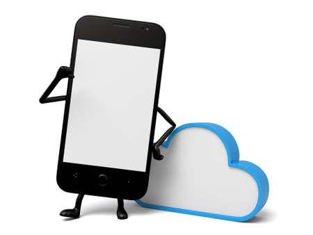 nubes caricatura: El teléfono inteligente 3d y una señal de datos de nube Foto de archivo