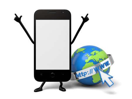 The 3d smartphone and a web browser Zdjęcie Seryjne