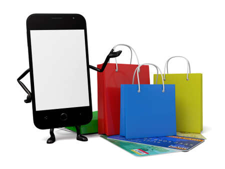 shopping card: A smartphone went shopping with a credit card