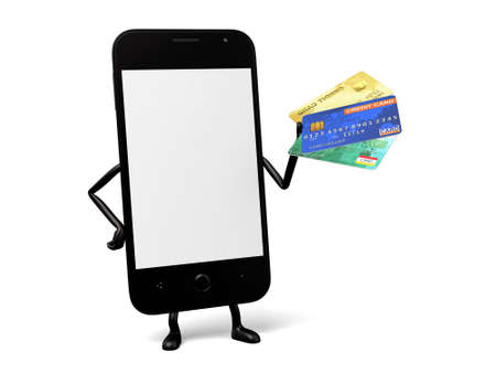 smart card: A smartphone and a credit card Stock Photo