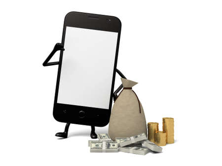 A smartphone and a lot of money Stock Photo
