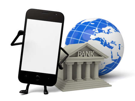 global finance: A smartphone and a bank