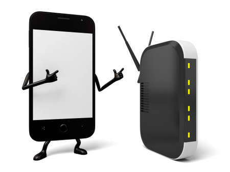 smartphone: A smartphone and a router