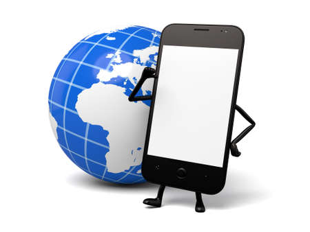 globalism: A smartphone and a globe Stock Photo