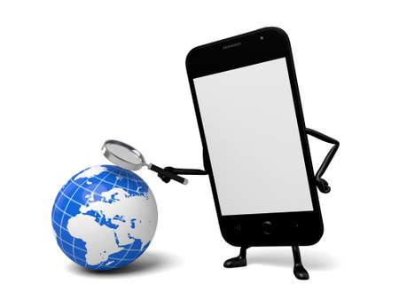 smartphone: A smartphone and globe