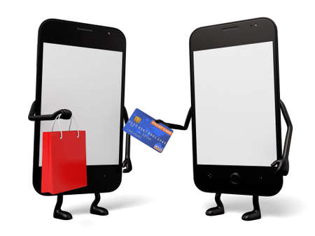 smart card: A smartphone paid with a credit card