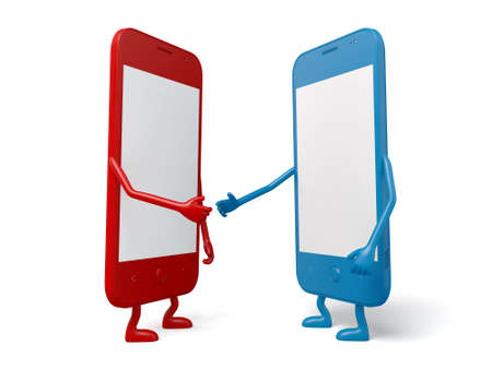 cellphones: The two cellphones are shaking hands