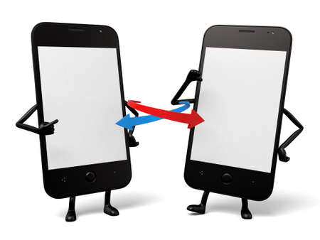 cellphones: The two cellphones are interconnected Stock Photo