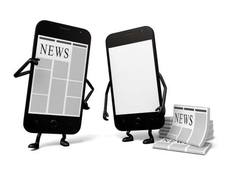 affairs: A smartphone and a newspaper Stock Photo