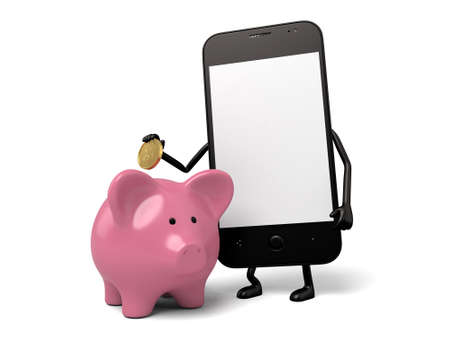 hp: A smartphone and a piggy bank Stock Photo