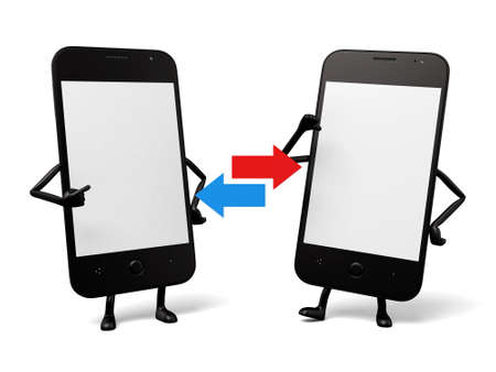 interconnected: The two cellphones are interconnected Stock Photo