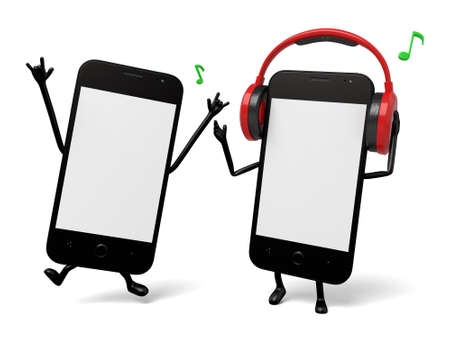 Two smartphones are listening to the music Stock Photo