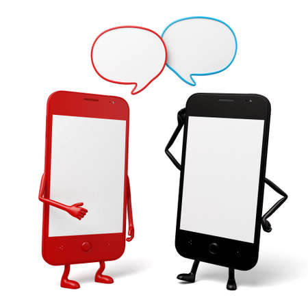 cellphones: The two cellphones are talking Stock Photo