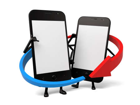 The two cellphones are interconnected Фото со стока