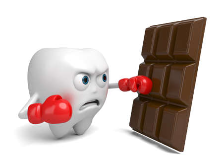temptation: The tooth was trying to resist the chocolates temptation Stock Photo