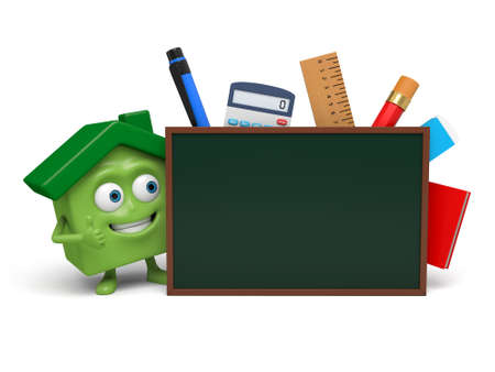writing materials: The house and a lot of writing materials Stock Photo