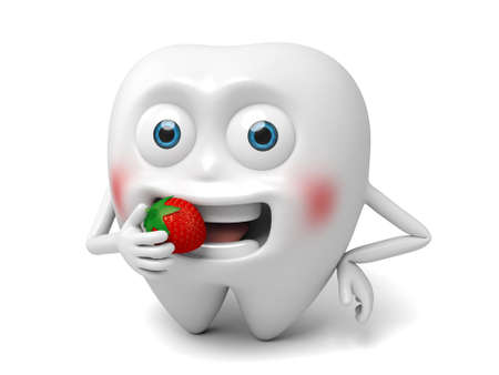 eat: The tooth is eating strawberry