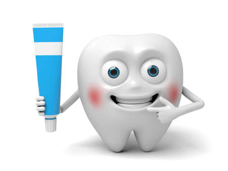 The tooth and a toothpaste