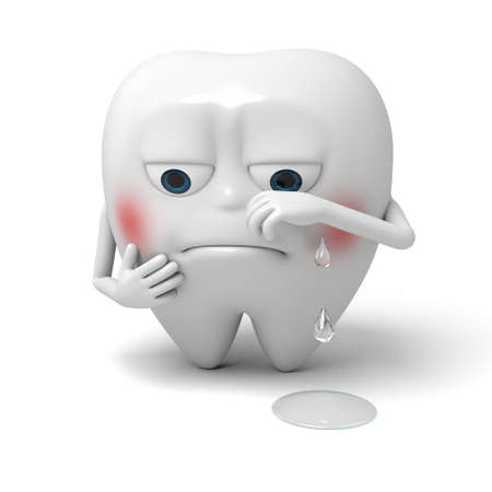 The tooth is crying