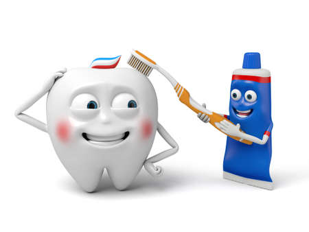 The toothpaste is brushing the tooth
