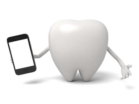 cellphone: The tooth and a cellphone Stock Photo