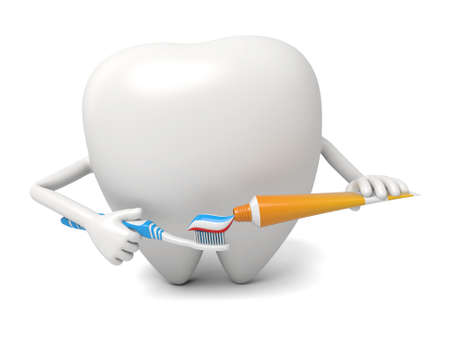 The tooth is squeezing the toothpaste