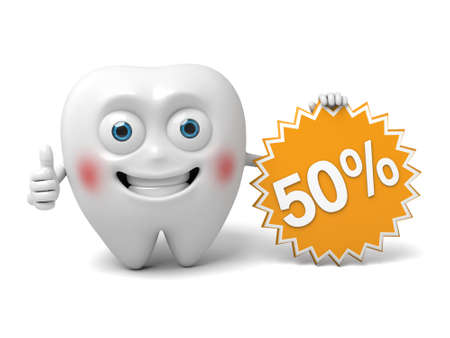 The tooth holds the promotional material Stock fotó
