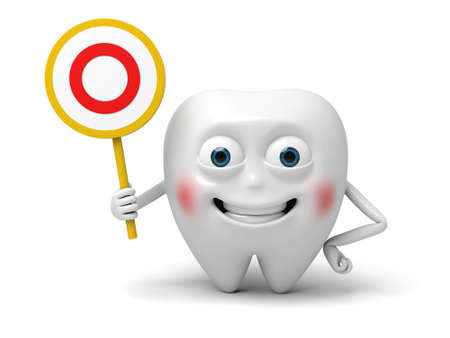 said: The tooth held up a sign which said YES Stock Photo