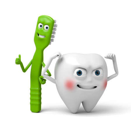 The tooth and its toothbrush Stock Photo