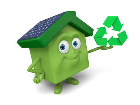 recyclable: The house and a mark of recyclable