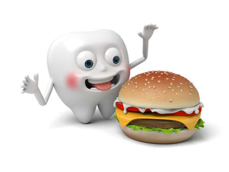 The tooth and a hamburger
