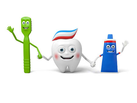 toothpaste: A tooth toothbrush and toothpaste Stock Photo