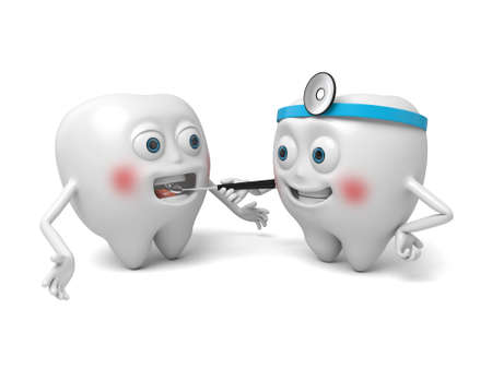 The dentist is treating the tooth