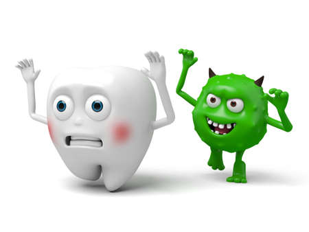 bacteria tooth: The bacteria is biting the tooth
